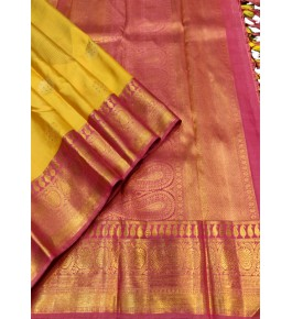 Handloom Traditional Kanchipuram Beautiful Silk Yellow & Pink Saree for Women