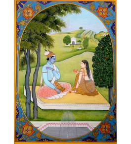 Baramasha Sitting Front of Home Traditional Kangra Painting Arts