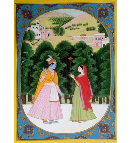 Miniature Water Color Painting on Paper Baramasha  Traditional Kangra Painting Arts