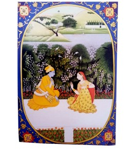 Miniature Water Color Painting on Paper Lord Krishna & Gopi Traditional Kangra Painting Arts