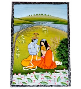 Miniature Water Color Painting on Paper Radha - Krishna Traditional Kangra Painting Arts
