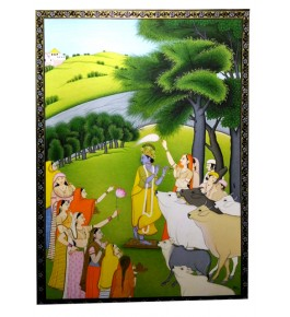 Miniature Water Color Painting on Paper Krishna in Gokul Traditional Kangra Painting Arts
