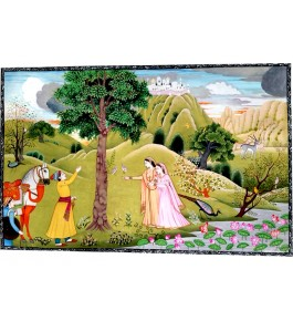 Traditional Kangra Painting Arts Miniature Water Color Painting on Paper