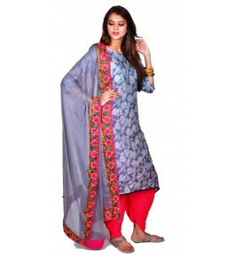 Punjab Phulkari Beautiful Handmade Embroidered Soft Cotton Grey Kurti By Kochar Woolen Mills