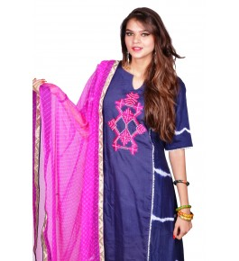 Punjab Phulkari Beautiful Handmade Embroidered Chanderi Shibori Kurti By Kochar Woolen Mills