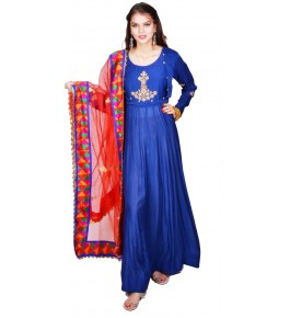 Punjab Phulkari Beautiful Handmade Embroidered Cotton Anarkali Blue Kurti By Kochar Woolen Mills