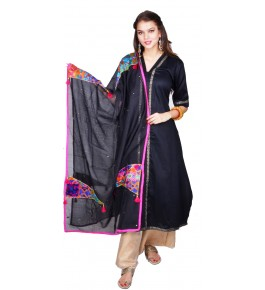 Punjab Phulkari Beautiful Handmade Patchwork Cotton Black Kurti By Kochar Woolen Mills