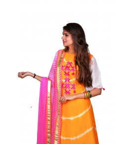 Punjab Phulkari Beautiful Handmade Embroidered Chanderi Shibori Yellow Kurti By Kochar Woolen Mills