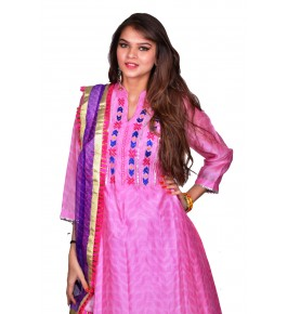 Punjab Phulkari Beautiful Handmade Embroidered Chanderi Shibori Pink Kurti By Kochar Woolen Mills