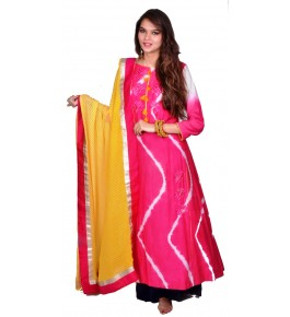 Punjab Phulkari Beautiful Handmade Embroidered Chanderi Shibori Magenta Kurti By Kochar Woolen Mills