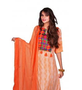 Punjab Phulkari Beautiful Handmade Block Printing Orange Kurti By Kochar Woolen Mills