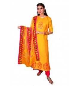 Punjab Phulkari Beautiful Handmade Block Printing Cotton Yellow Kurti By Kochar Woolen Mills