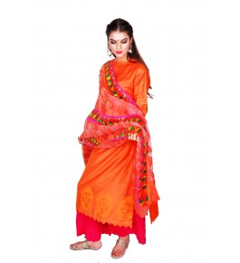 Punjab Phulkari Beautiful Handmade Block Printing Cotton Orange Kurti By Kochar Woolen Mills