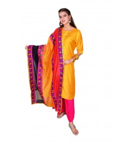 Punjab Phulkari Beautiful Handmade Cotton Yellow Kurti By Kochar Woolen Mills