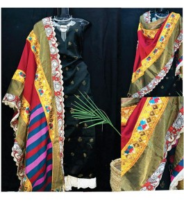 Traditional Punjab Phulkari Beautiful Handmade Patchwork Cotton Black Kurti White Plazo Set With Multicolour Dupatta