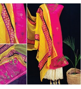 Traditional Punjab Phulkari Beautiful Handmade Patchwork Cotton Pink Kurti White Plazo Set With Yellow Dupatta