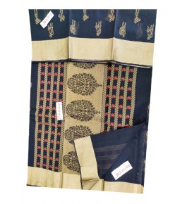 Kovai Kora Designer Cotton Blue Peacock Printed Saree with Blouse for Women