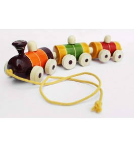 Channapatna Toys & Dolls Handcrafted Wooden Chuk-Chuk Train By Sri Manjunath Toy's Factory