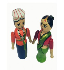 Channapatna Toys & Dolls Handcrafted Wooden Former Couple By Sri Manjunath Toy's Factory