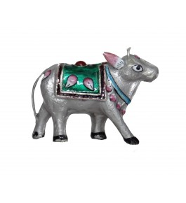 Banaras Gulabi Meenakari Craft Silver Cow Showpiece By Kunjbihari Singh