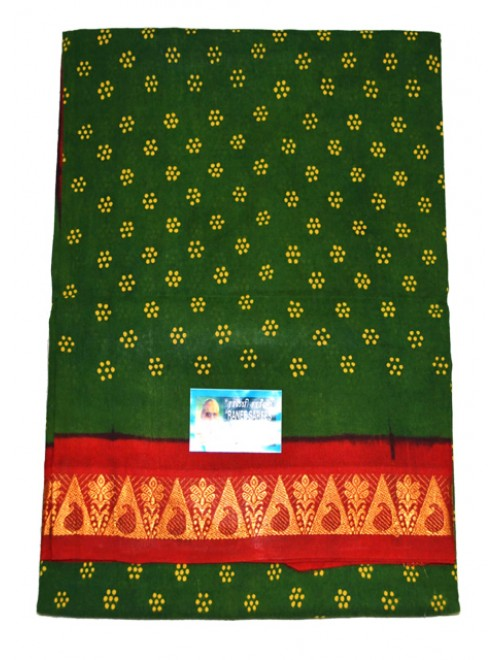 Traditional Madurai Sungudi Cotton Green Saree with Beautiful Red Border for Women