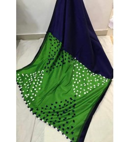 Santipur Cotton Silk Pom Pom Green & Navy Blue Saree For Women