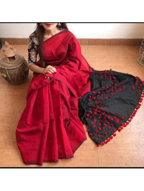 Santipur Red & Black Cotton Silk Saree with Pom Pom Pallu For Women