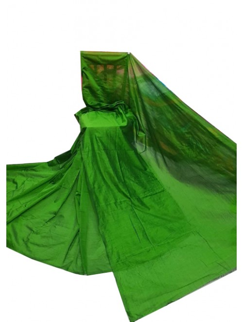 Santipur Cotton Silk Green Plain Saree For Women