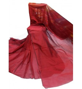 Santipur Cotton Silk Red Plain Saree For Women