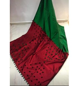 Santipur Cotton Silk Pom Pom Green Red Saree For Women