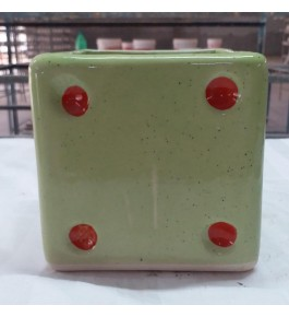 Beautiful Handmade Creamy Green Color Khurja Pottery Pot for Flower & Plants