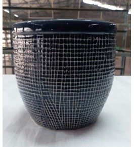 Beautiful Handmad Black Color Khurja Pottery Pot for Flower & Plants