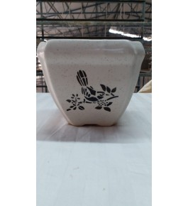 Beautiful Handmad  Marble White Color Khurja Pottery Pot for Flower & Plants