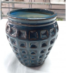 Beautiful Handmad Blue Color Khurja Pottery Pot for Flower & Plants