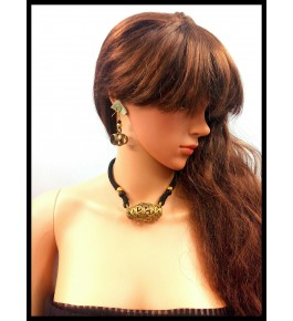 HANDMADE DOKRA THREADED  PENDENT NECKLACE SET WITH EARRING