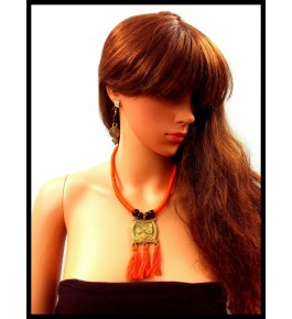 HANDMADE DOKRA PENDENT NECKLACE SETS WITH EARRING