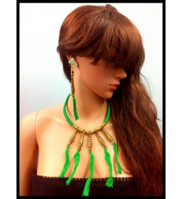 HANDMADE DOKRA THREADED PENDENT NECKLACE SETS WITH EARRING