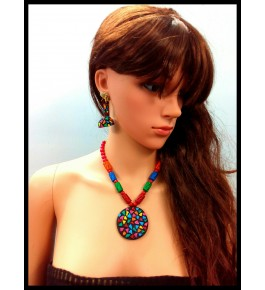 HANDMADE TERRACOTTA BEADED PENDENT NECKLACE SET