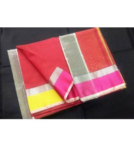 Maheshwar Handloom Red Silk Saree With Silver Zari Narmada Border & Jhalar Pallu By Noori Handloom