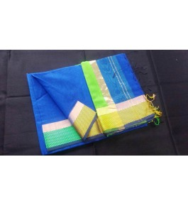 Maheshwar Handloom Royal Blue Silk Saree With Silver Zari Narmada Border & Jhalar Pallu By Noori Handloom