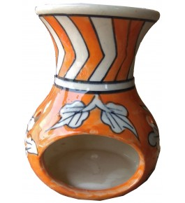 Handmade Khurja Pottery Orange Oil Diffuser Burner By Brite Industries