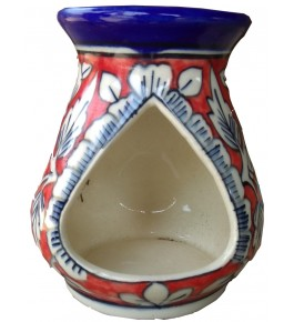 Khurja Pottery Handmade Red Oil Diffuser Burner By Brite Industries