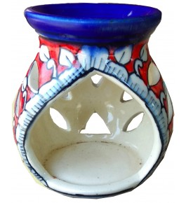 Handmade Khurja Pottery Red Oil Diffuser Burner By Brite Industries