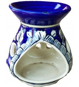 Handmade Khurja Pottery Blue Oil Diffuser Burner By Brite Industries