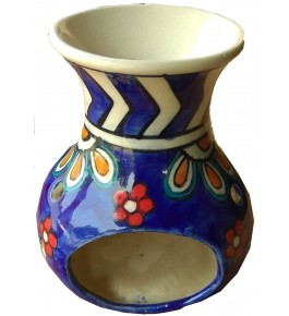 Handmade Blue Khurja Pottery Oil Diffuser Burner By Brite Industries