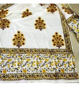 Bagru Hand Block Print Cotton Floral Dupatta For Women & Girls By Shree Shyam Textiles & Handicrafts