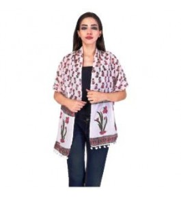 Sanganeri Hand Block Printing Cotton Stole For Women By Shree Shyam Textiles & Handicrafts