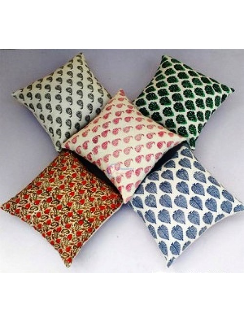 Bagru Hand Block Print Pillow Cover (Set of 5)