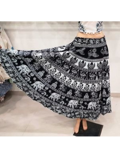Bagru Hand Block Print Elephant Design Long Skirt For Women & Girls