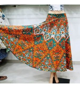 Sanganeri Hand Block Printed Long Skirt For Women By Shree Shyam Textiles & Handicrafts